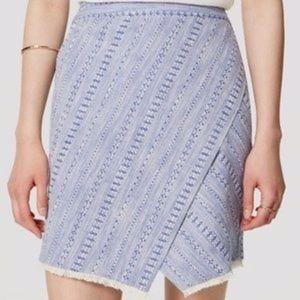 NWOT LOFT Blue White Embroidered Pencil Skirt 10